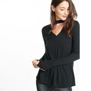Express Black Long Sleeve Chocker Shirt Size XS